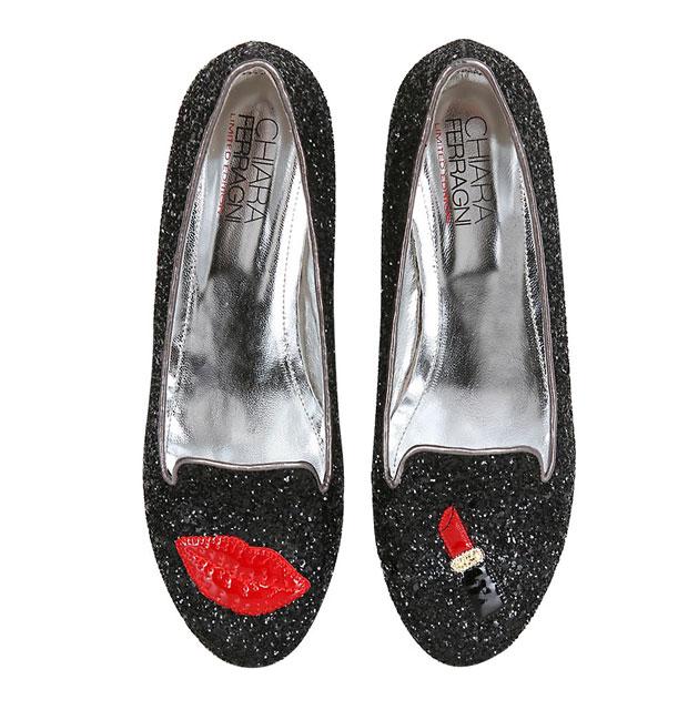 Chiara Ferragni glitter lipstick flats
