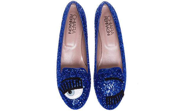 Chiara Ferragni loafers flirting blue