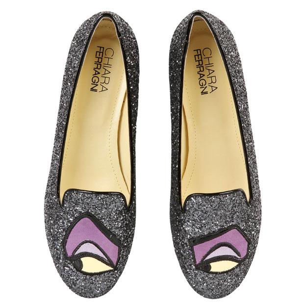 Chiara Ferragni Maleficent loafers glitter silver