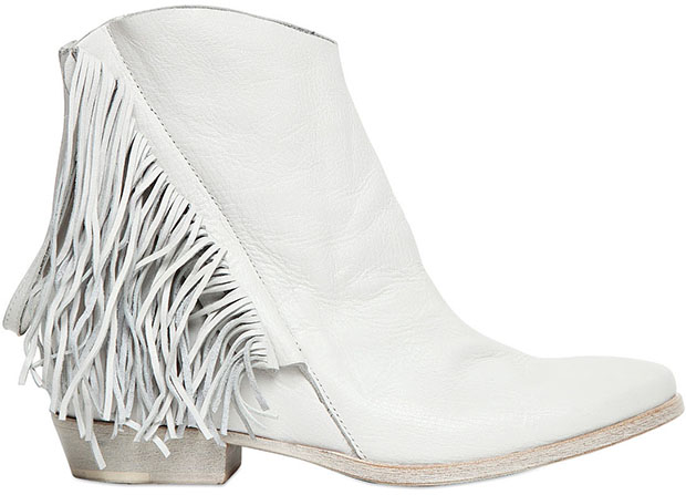 Cinzia Araia white fringe boots