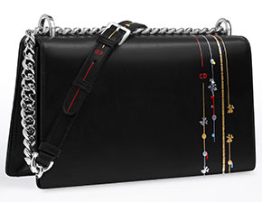 Dior Diorama black embroided calfskin