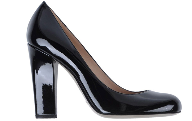 Emporio Armani black leather patent pumps