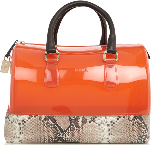 Furla orange Candy python bag