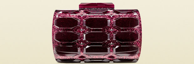 Gucci aristographic plexiglass clutch