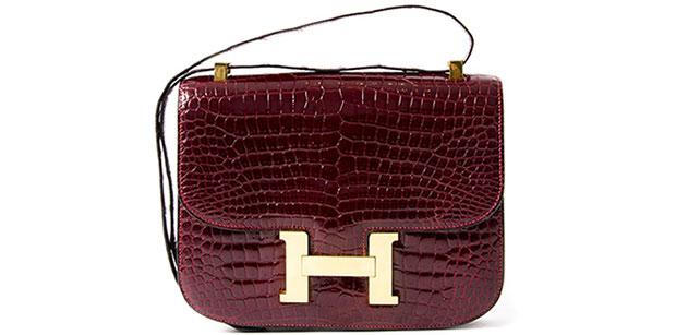 Hermès Constance rouge H croc