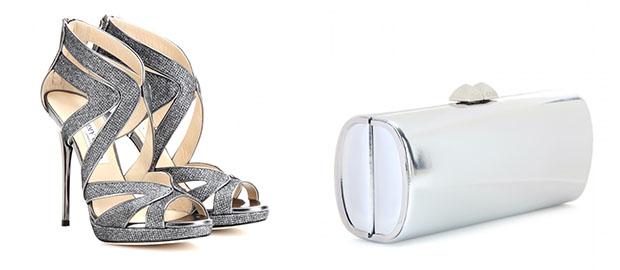 Jimmy Choo glitter heels silver clutch