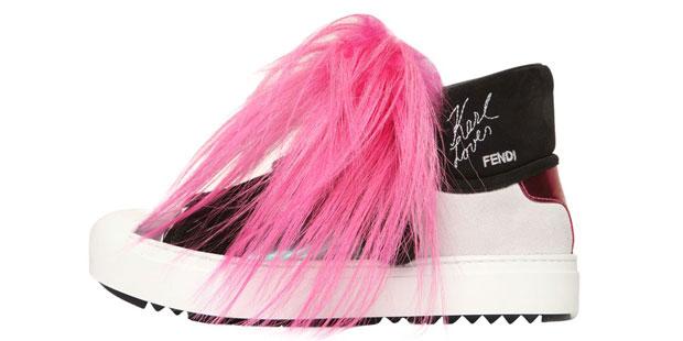 Karl Lagerfeld Fendi pink sneakers fur