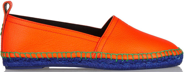 Loewe orange leather espadrilles