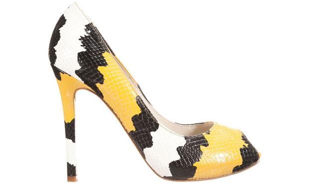 Mai Più Senza peep toes snake yellow