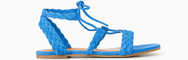 Mango suede sandalen blauw gevlochten