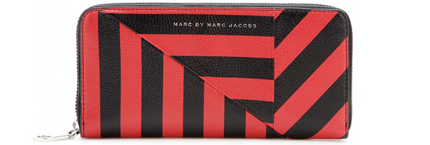 Marc by Marc Jacobs slim zip around red stripes