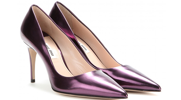 Miu Miu metallic purple pumps