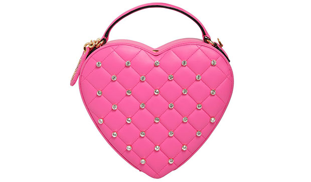 Moschino quilted heart bag pink
