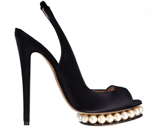 Nicholas Kirkwood black satin pearl slingback pumps