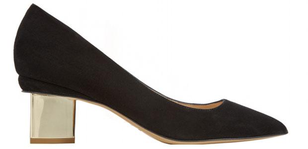 Nicholas Kirkwood black suede mid heel pumps