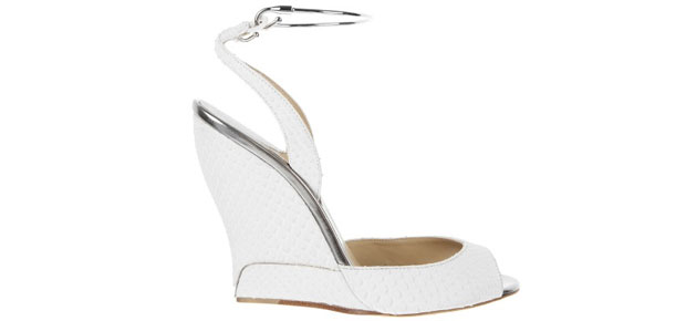 Paul Andrew Delphi python white sandals