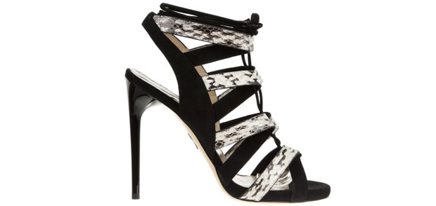 Paul Andrew Tempest python black white sandals