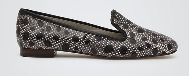 Reiss Celia slippers slangenleer snake black white