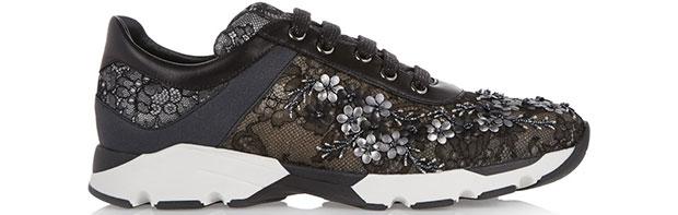 rené Caovilla lace embellished sneakers