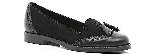 River Island black leather tassel loafers