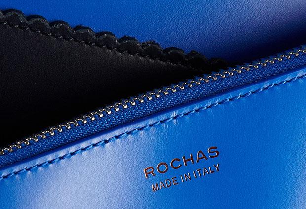 Rochas leren shopper navy blue detail