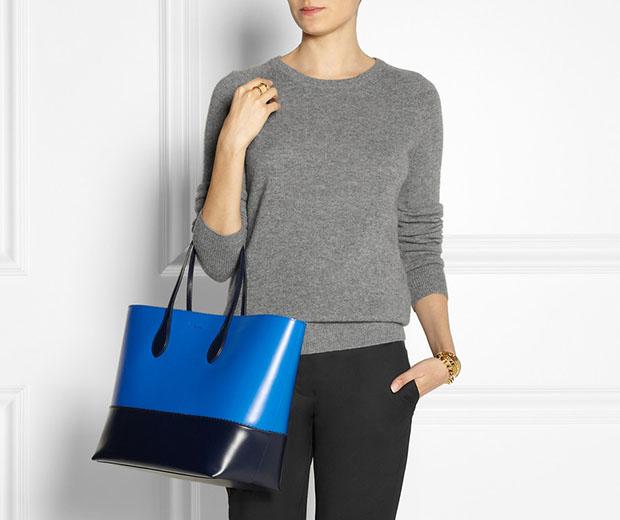 Rochas leren shopper navy blue