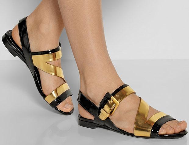 Sergio Rossi sandalen zwart goud