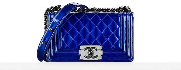 Chanel Boy Bag medium blue metallic spring 2014