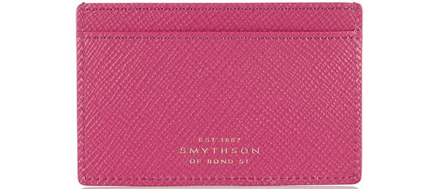Smythson Panama pink cardholder
