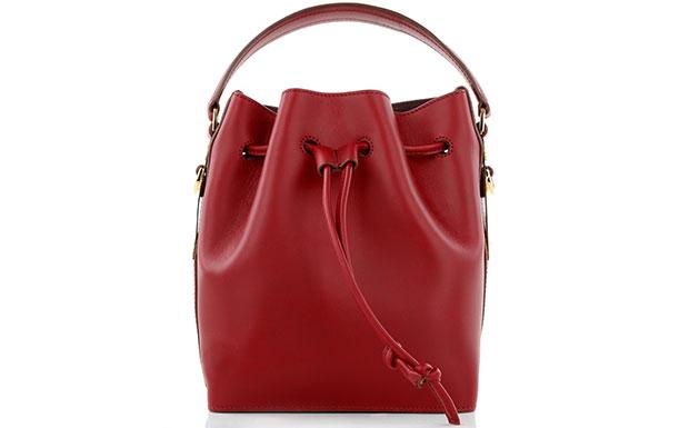 Sophie Hulme bucket bag red drawstring
