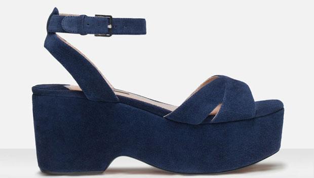 Uterqüe suede wedge sandals blue