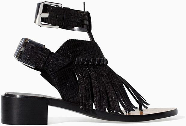 Zara fringe sandals black